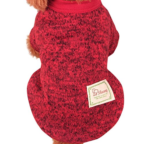 Hmeng Nette Haustier Hundestrickjacke, Einfarbig Wolle Pullover Haustier -