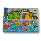 Arena mágica para modelar. 800 gr. 4 Colores. con 16 moldes de Animales Marinos y terrestres