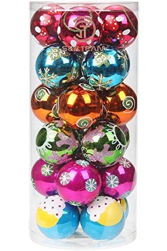 Sea Team 60mm/6cm Bruchsichere Bunte Malerei & glitzernde Weihnachtskugeln Balls Deko Hänger Weihnachten Ornaments Set–24zählt