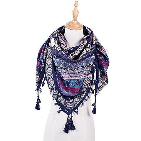 HuaYang Femmes Automne Hiver Mode ethnique bohème confortable Tassel Hem Bohême Echarpe Foulard en coton - Bleu