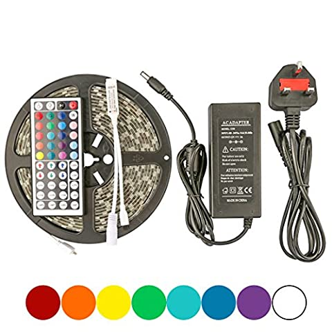 LEDMO Super Bright Waterproof RGB Led Strip 5050 RGB 300LEDs 16.4feet/5meters IP65 LED Strip Lights Kit with 44 Key IR Remote Controller and 12V 5A Power Supply, for Home Kitchen Cabinet TV Lighting Decoration