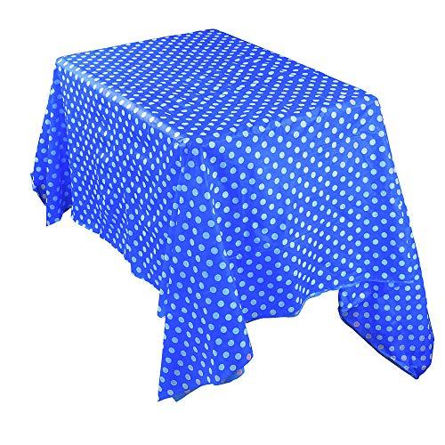 Ansenesna Tischdecke Rechteckig Mit Weißen Punkten Kunststoff Tischtuch Wasserabweisend Für Hochzeit Festlich Party 137x274cm (Blau)
