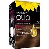 Garnier Olia Colorazione Permanente senza Ammoniaca, Migliora la Qualità dei Capelli, Copre i Capelli Bianchi, 4.3 Castano Scuro Dorato
