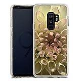 DeinDesign Samsung Galaxy S9 Plus Bumper Hülle gold transparent Bumper Case Schutzhülle Glitzer Look Blume Flower Dahlie