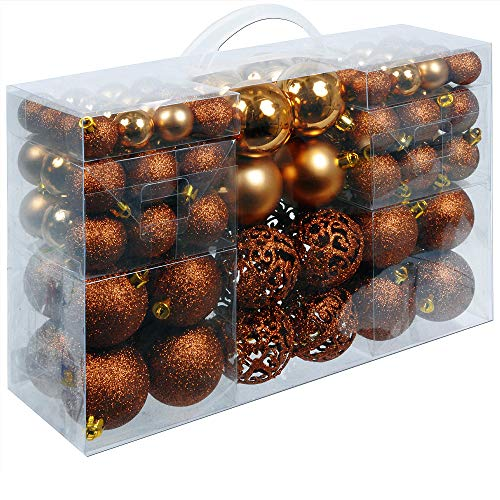 Deuba palline di natale 100 pezzi palline natalizie decorazioni natale palle albero di natale decorazione natalizia marrone