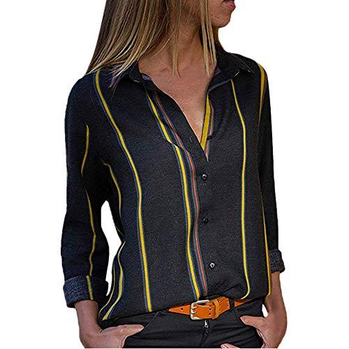 VEMOW Sommer Herbst Frühling Elegante Damen Frauen Casual Cuffed Langarm V-Ausschnitt Casual Täglichen Arbeit Taste up Gestreiftes Hemd Bluse Tops(Y2-Schwarz, 42 DE/L CN)
