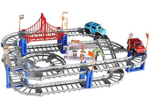 HenMerry Electronic Racing Car Racing track Kids Toy Childrens Game Boys Xmas Gift Rail Building Block Toy