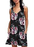 Yidarton Sommerkleider Damen Casual Ärmellos Rundhals Strandkleider Blumen Bedrucktes Trägerkleid Kurz Kleider mit Taschen (Z-Schwarz, m)