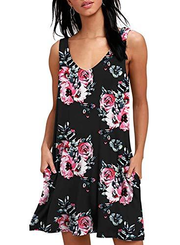 Yidarton Sommerkleider Damen Casual Ärmellos Rundhals Strandkleider Blumen Bedrucktes Trägerkleid Kurz Kleider mit Taschen (Z-Schwarz, XXL)