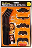 5PC BLACK NOVELTY FLEXI STRAWS WITH BLACK MOUSTACHES