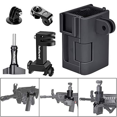 Extremade 5in1 Halterung Aluminium Airsoft Action Kamera Adapter Paintball Wasserball AR-15 Pistolengewehr Waffe Picatinny Schienenadapter + Erweiterung Schutzrahmen für DJI OSMO Pocket Stabilisator -