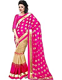 Macube Women's Bhagalpuri Silk Printed Saree With Blouse Piece - MS252_25_Pink And Beige_Free Size