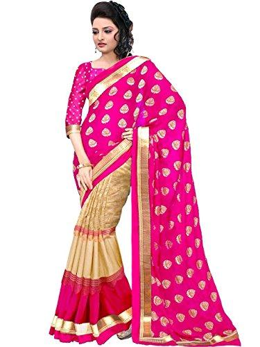 Chirag Enterprise Presents women's art silk kalamkari and bhagalpuri style foil print saree with blouse piece (Multi-Color_Free_Size) JULIE PINK