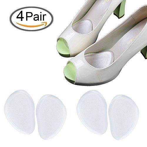 Plantillas de Zapatos con Tacón Alto Proteger los Pies, Medio plantilla para Alivio el Dolor en el Antepié (4 pares)
