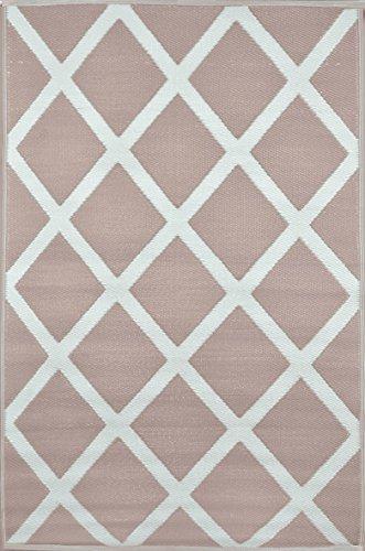 Green Decore Tapis léger Intérieur/extérieur réversible Plastique Tapis Diamant Chaud Taupe \ Crème - 1,5 x 2,4 m (150 x 240 cm), Chaud Taupe/crème