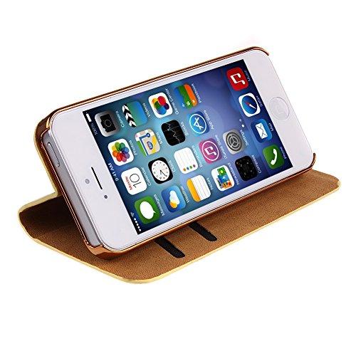 iPhone 5S Handyhülle,iPhone SE Case,iPhone 5 Hülle - Felfy Sleek Simple Gold Luxury Luxus Bling Sparkle Flip PU Leder Wallet Case Tasche Schutz hülle Etui für Apple iPhone 5S 5 + 1x Golden Touch Stylu Gold