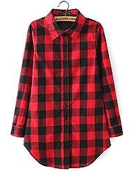 Solapa Casual Camisa Cuadros Blusa de Manga Larga para Mujer,Color Rojo + Negro XL