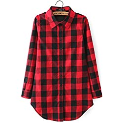 Solapa Casual Camisa Cuadros Blusa de Manga Larga para Mujer,Color Rojo + Negro M
