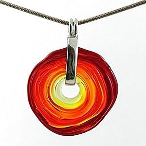 Kette in Rot-Tönen mit Anhänger aus Muranoglas, Glas-Schmuck, Wechsel-Schmuck, Unikat, personalisiert, einzigartiges Geschenk
