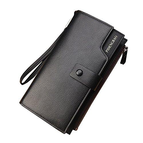 Wewod Große Kapazität Mode Herren lange Brieftasche Clutch Geldbeutel Geldbörse Portemonnaie mit Handy RV-Taschen und Münzgeldfach ca. 20*10.5*3.5 cm Schwarz-a