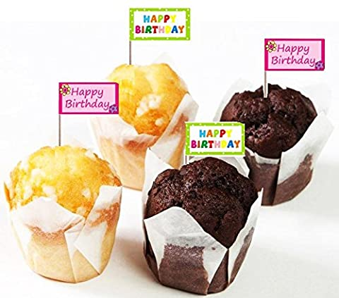 20 Happy Birthday Party Flag Picks Girl Boy Food Cup Cake Cocktail Bar Sticks 8cm Cheese Buffet Catering Sandwich Tea Drinks Table Decoration Tableware Kid Child