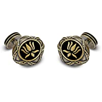 Rohit Bal Bronze-Toned Lotus Pattern Cufflinks
