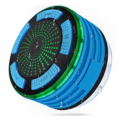 FADDR Dusch-Bluetooth-Lautsprecher, IPX7-wasserdichtes, kabelloses Badezimmerradio mit Saugnapf, eingebautem Mikrofon, Super-Bass und HD-Sound. Perfekt für Strand, Pool und Küche(Dunkelblau)