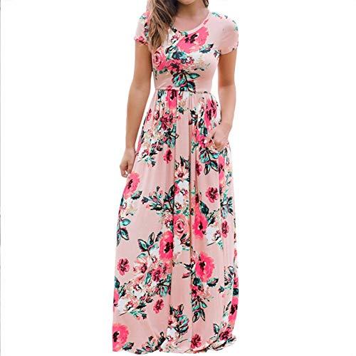 Miles Sail 2019 Floral Print Dress Women Casual Short Sleeve O Neck Beach Dress Plus Size Long Summer Dress Elegant Vestidos,Black,XXXL (Black Dress Long Plus Size Womens)