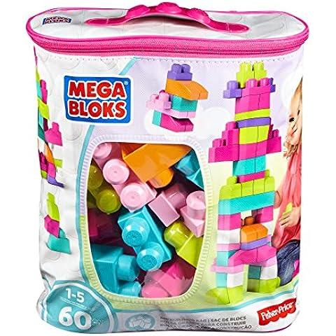 Mega Brands - First Builders de 60 piezas con bolsa ecológica, bolsa Rosa (Mattel DCH54)