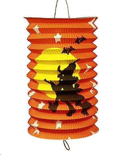 HAAC Lampion bunt Motiv Halloween Hexe auf Besen schmal für Feste Laternenumzug 17x15x15 - Halloween-fest La Hexe
