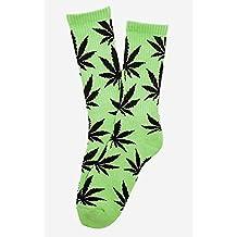 Calcetines de hierba, diseño de Marihuana, color verde con hojas negras