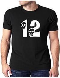 HEYUZE Printed 100% Cotton Half Sleeve Male/Men Round Neck Black T Shirt With Number 12 Skull Design