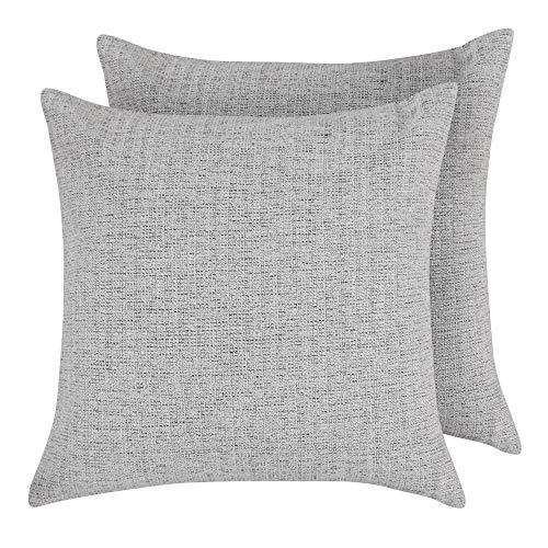 Deconovo set di 2 copricuscini divano per letto in lino federe decorative sedie 40x40cm grigio chiaro