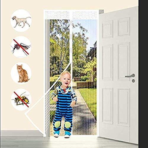 Tatuer Fliegengitter Balkontür Magnet Fliegengitter Tür Insektenschutz , Der Magnetvorhang ist Ideal für die Balkontür, Kellertür Und Terrassentür, Kinderleichte Klebemontage Ohne Bohren 90*210cm Weiß