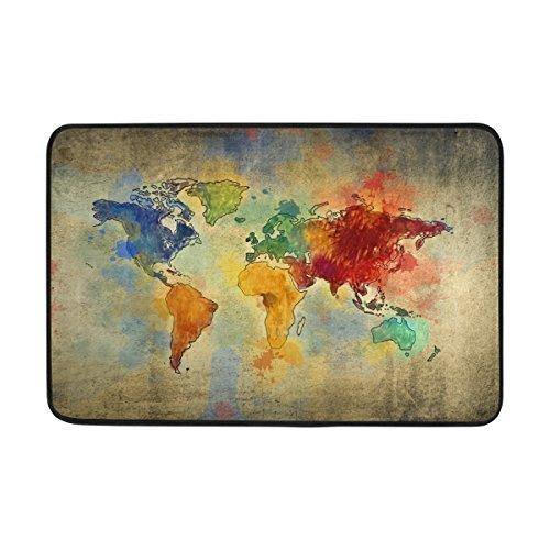 jstel Vintage Weltkarte-Fußmatte waschbar Garten Büro Fußmatte, Küche ESS-Living Badezimmer Pet Eintrag Teppiche mit Rutschfeste Unterseite 59,9x 39,9cm (Outdoor-eintrag Möbel)