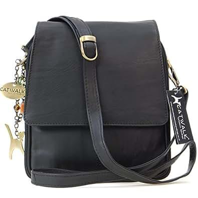 Catwalk Collection Leather Organiser Messenger Bag - Metro - Black