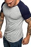 Yidarton Herren T-Shirt Slim Fit Basic Kurzarm Shirt mit Rundhalsausschnitt (Marine, S)