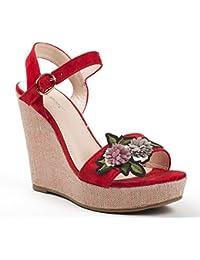 Ideal Shoes - Sandales compensées effet daim avec patch fleur Lilona