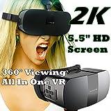 3d VR móvil todo en uno, bevifi 360Visor 2K HD Pantalla de 5,5pulgadas Android 5.1anti azul VR Gafas de Realidad Virtual Auriculares [2G RAM/8G ROM/BT 4.0] apoyo WIFI/aplicaciones (teléfono no necesita, Navidad regalos)
