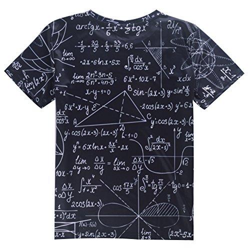 uideazone Mens 3D-Druck-Hipster Hemd mit Kurzen Ärmeln Lässige Graphics Tees Mathe