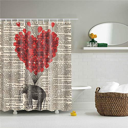 YS753 Tiere Elefant Muster Badezimmer Vorhang Set Nordic Polyester Bad Bildschirme wasserdicht Mildew Proof opak Datenschutz Duschvorhänge 12 Haken (Set 1967 Proof)