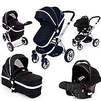 i-Safe System Black 3 in1 Travel System Pram & Luxury Stroller Complete with Car Seat