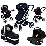 i-Safe System Black 3 in1 Travel System Pram & Luxury Stroller Complete