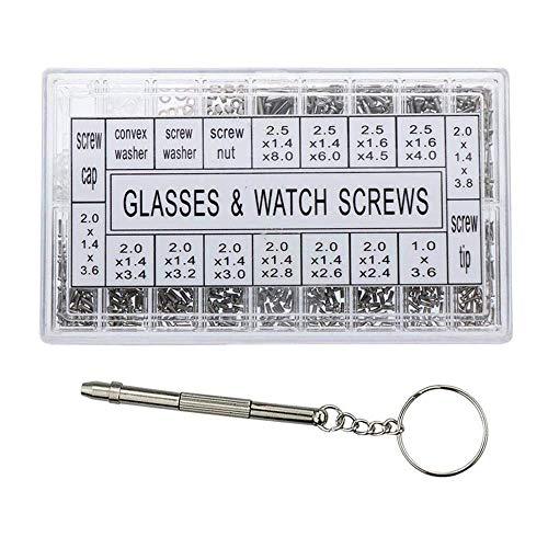 Schrauben aus Edelstahl, Sonnenbrillen aus Augenglas Reparatursatz Kleine kleine kleine Schrauben Nußwaschmaschine Zubehör für Brillengläser Uhr 1000pcs