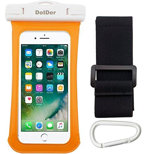 Dolder Premium Wasserdichte Armbandtasche Handyhülle Tasche mit Side Window Mountain-clip & Armband für IPX8, tief bis 6 Meter, für 4,3 - 5,1 zoll Smartphone wie Apple iPhone 7/6S/SE/5S, Samsung Galaxy S7/S6/S5/A3/J3, Sony Xperia XA/XA1/X Compact/Z5 Compact/Z3 Compact, HUAWEI P8 LITE/Honor 6/Y3II/Y5II/Y6II,Microsoft Lumia 650/Lumia 550 Moto G4 Play etc., in Orange.