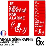 Lot de 6 autocollants / stickers Alarme sécurité / 5.5 cm x 9 cm