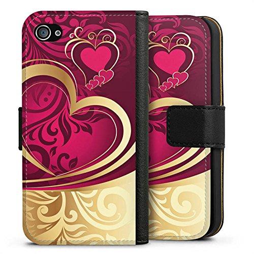 Apple iPhone X Silikon Hülle Case Schutzhülle Liebe Herz Love Sideflip Tasche schwarz