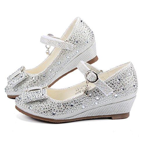 Tufanyu Mädchen Prinzessin Schuhe Keilabsatz Glitter Shiny Strass BowKnot Party Kleid Sandalen für Kleinkind & Kleinkinder Abschlussball ( Color : Silver , Size : 26 EU ) (Kleid Sandalen Kleinkind)