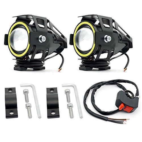 Riflettori da moto U7 Cree Extra LED con occhi angelo bianchi, fendinebbia per moto, faro anteriore per bici LED, anabbaglianti e fasci strobo, 12V 24 V 30 W 3000 LM (U7 White Spotlight)
