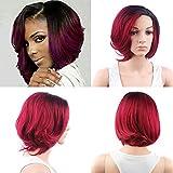 """Royalvirgin New Big Wave Hair Short Perruque Bob Ombre Noir / Rouge à vin Deux tons Haute température Synthétique Chaleur Perruques pleins avec Side Bangs 12 """"Hairstyle"""